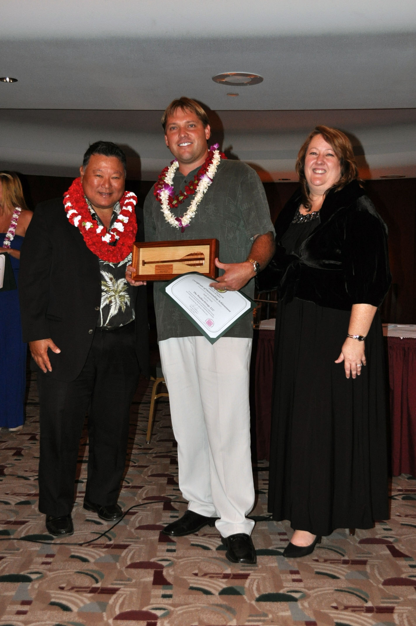 Mayor Alan Arakawa and Pamela Tumpap, President of the Maui Chamber of Commerce with winner, Josh Jerman of The Wailea Group, LLC.