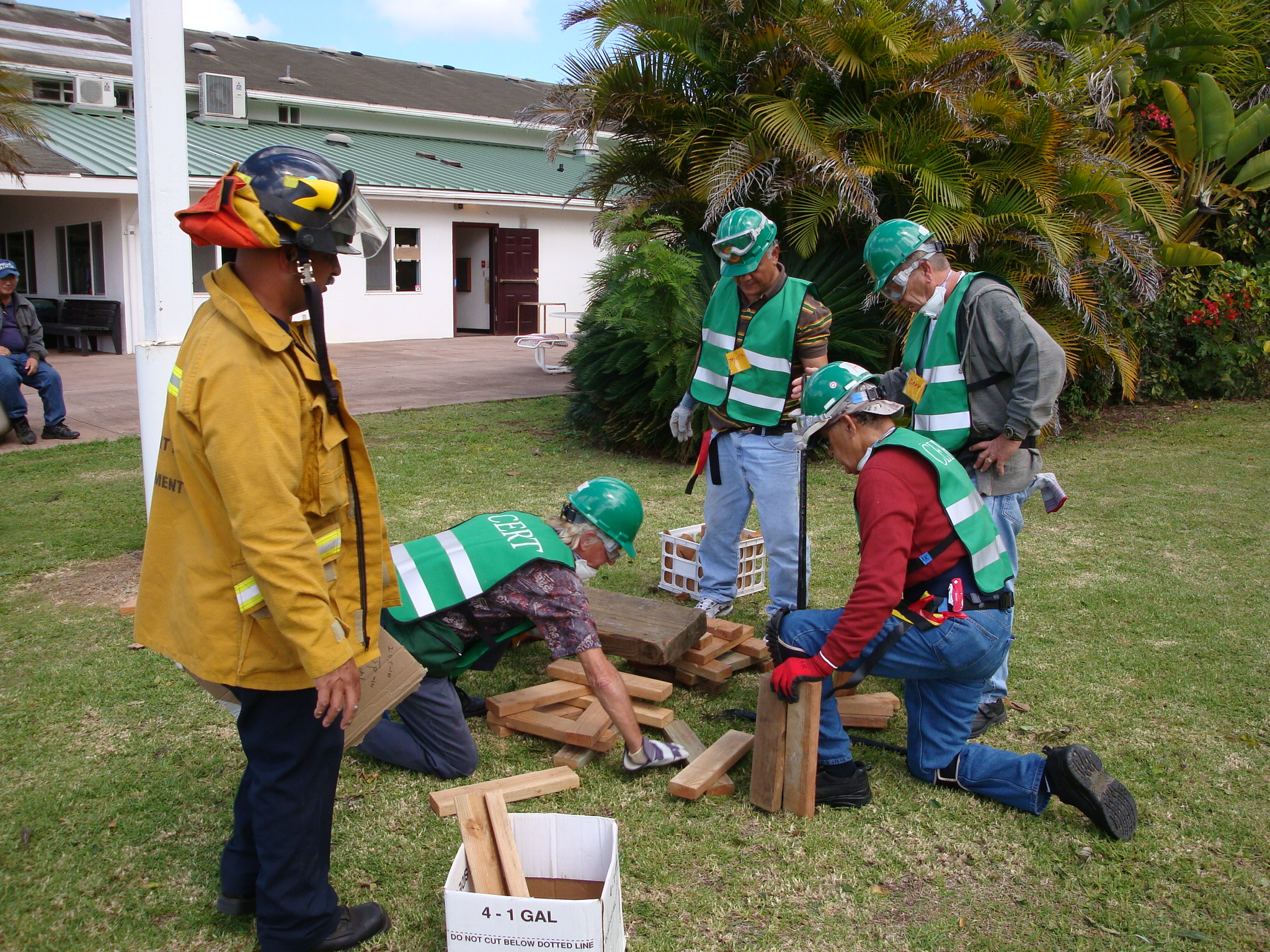 Firefighter supervising a drill during the Community Emergency Response Team (CERT) program. Photo courtesy of Maui County.