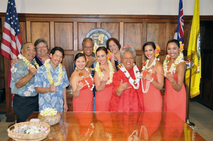 City Parks and Recreation staff that are working on the Lei Day celebration and the 2012 Court. Picture by Bob Rock, City and County of Honolulu.