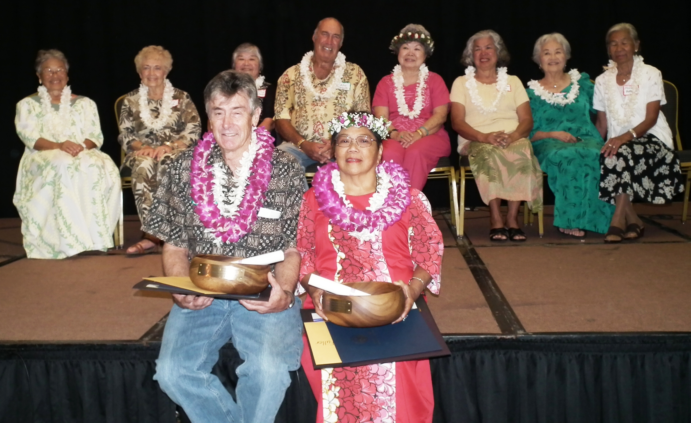 David Walker and Nancy Fuertes Fuller (front row) were named Kaua'i's 2012 Outstanding Older Americans. The other nominees shown in the back row (L to R) are: Joanne Watanabe; Lorin Wade; Shirley Matsuo; John Lydgate; Kay Hill; Martina Brun; Dorothy Brierley; and Florencia Balualua.