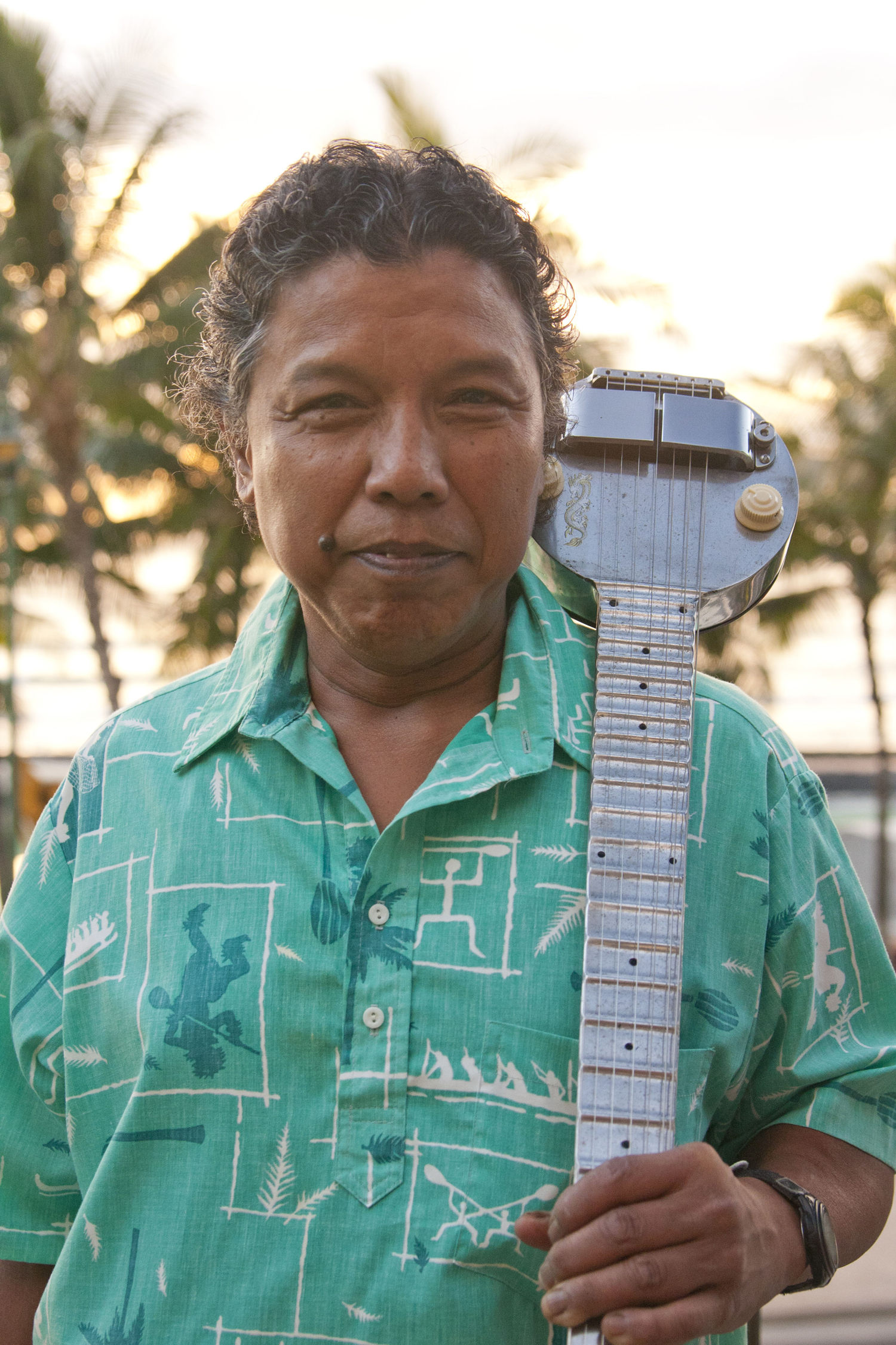 Steel Guitar Master Bobby Ingano will use the sight and sound technique to share his steel guitar artistry. Photo courtesy of WCC and Pomaika'i Loo.