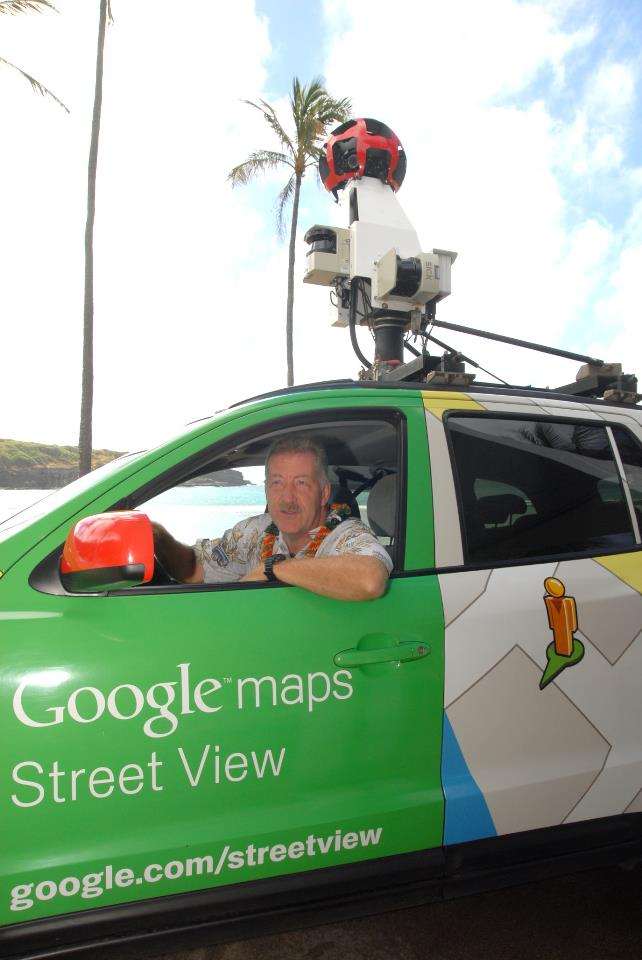 Mayor Carlisle inside of a Google Street View car. Photo courtesy of Mayor Carlisle Facebook page.