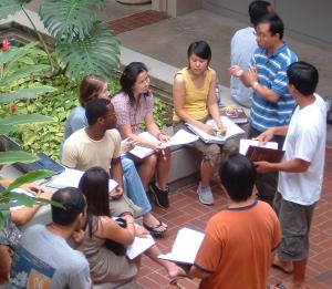 Richardson Law School students meet in the courtyard on the UH Manoa campus.