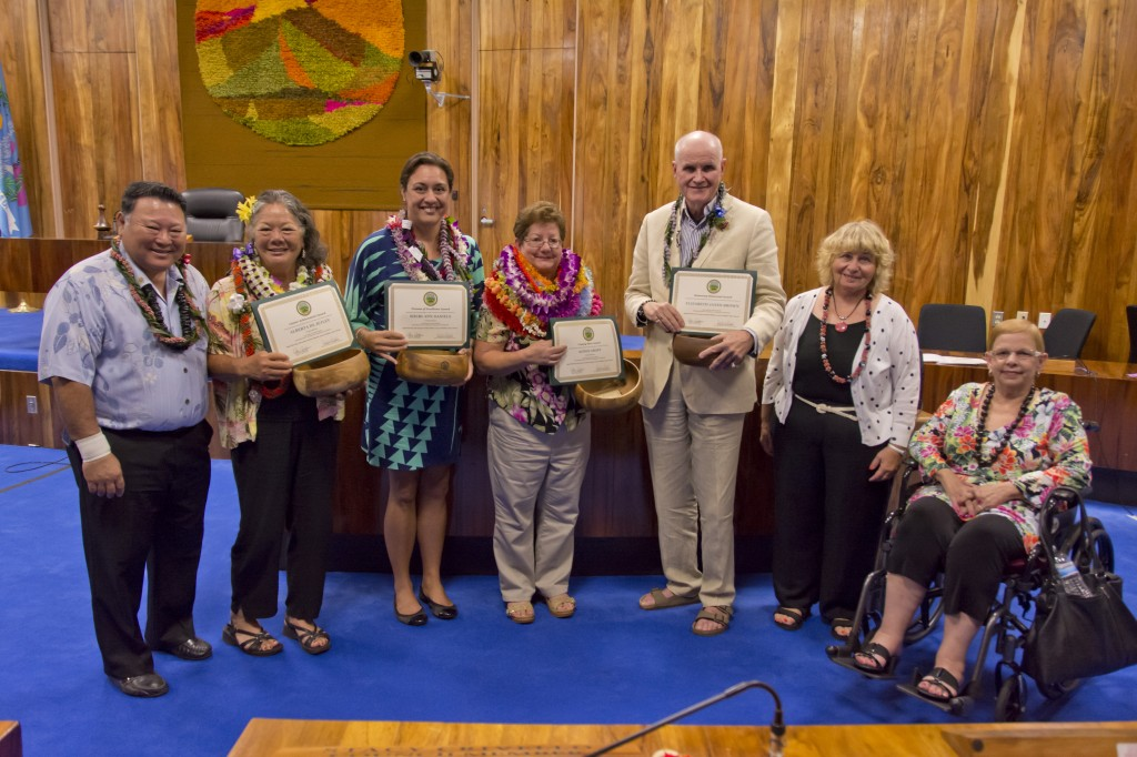 "Mayor Alan Arakawa, Council Chair Gladys Baisa (seated) and CSW Chair Barbara Potopowitz (2nd from right) congratulate the recipients of the 2014 ""Women of Excellence"" Awards. Honorees L-R: Alberta DeJetley, Sheri-Ann Daniels, Agnes Groff, and Paul Janes-Brown. CREDIT: County of Maui / Ryan Piros"