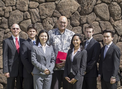 UH West O'ahu CFA Institute Research Challenge team smile with UH West O'ahu Chancellor Rockne Freitas. From left: UHWO Instructor Mark Weisbrod, Daniel Gabriel, Ke Lu Zhang, UHWO Chancellor Rockne Freitas, Adrianna DeMello, Timothy Marks, Ross Uehara-Tilton.