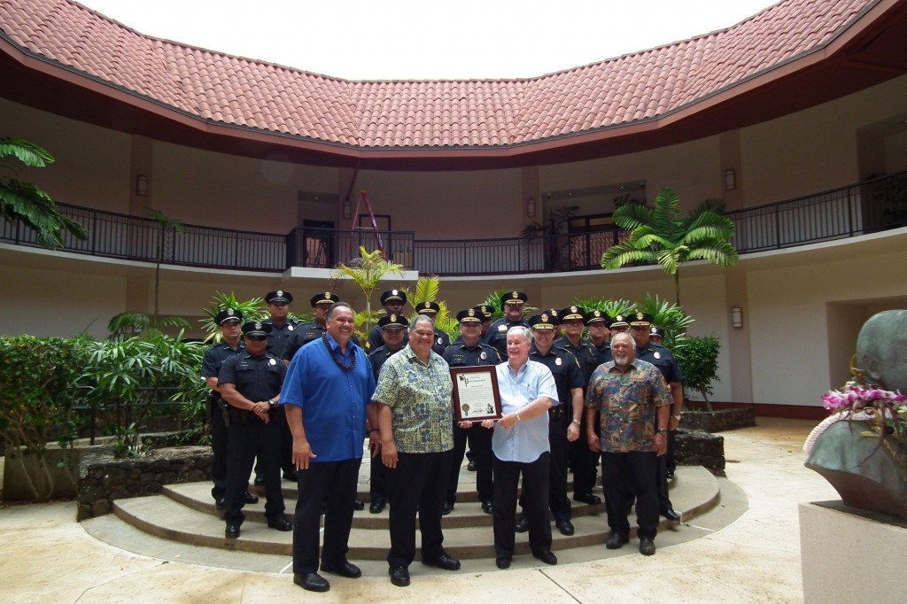 Photo: (Front row, L-R) Mayor Carvalho stands with Police Commission Chair Charlie Iona, along with police commissioners James O'Connor and Ernie Kanekoa, Jr., and members of the Kaua'i Police Department during today's proclamation ceremony held in honor of National Police Week.