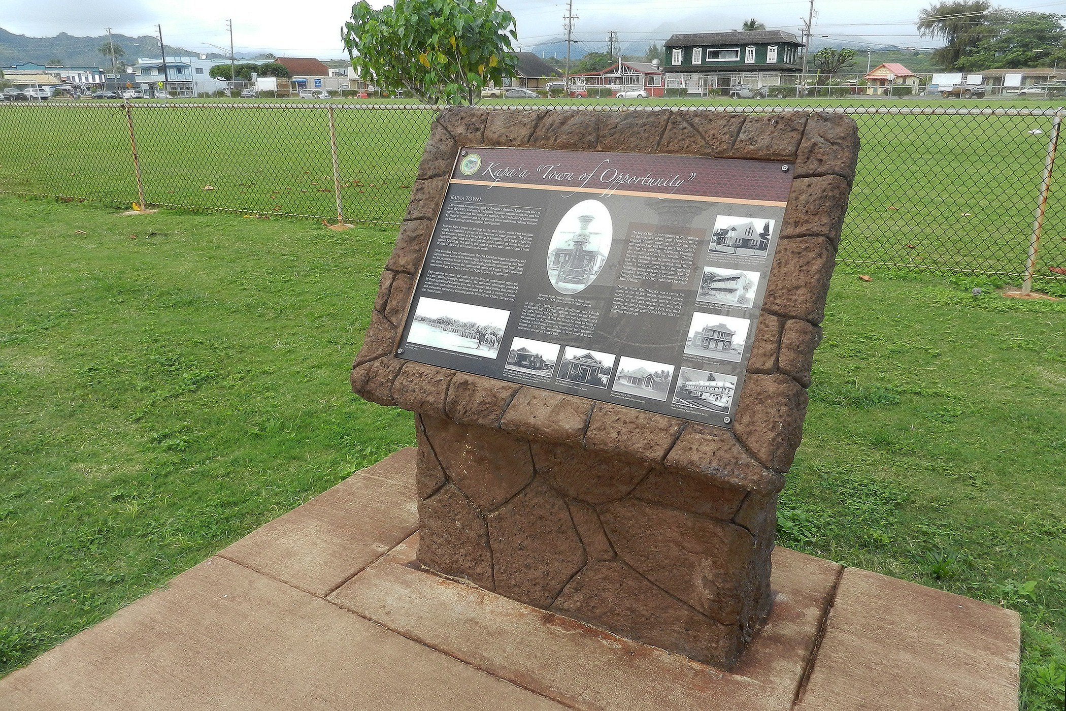 The County of Kaua'i received a Preservation Honor Award from the Historic Hawai'i Foundation for its series of interpretive signs  placed along Ke Ala Hele Makalae. This sign describes Kapa'a Town's pre-contact and modern-day history.