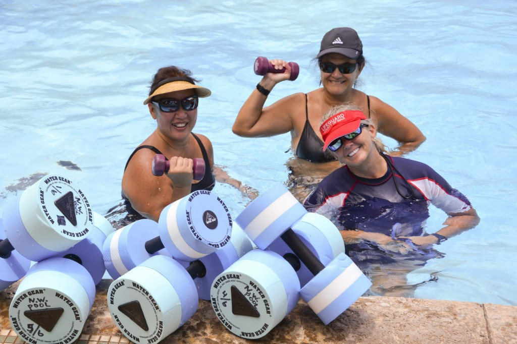 """H20 Strength and Tone"""" Instructor Sirena Lacour (right, front) is joined by Gail Fujiwara (left) and Adrienne Kawano at the free, lunch-time fitness class at New Wailuku Pool."""
