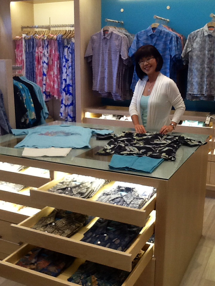Assistant store manager Jamie Takamiya at the shirt bar at Tori Richard. Photo By Aubrey Hawk PR.