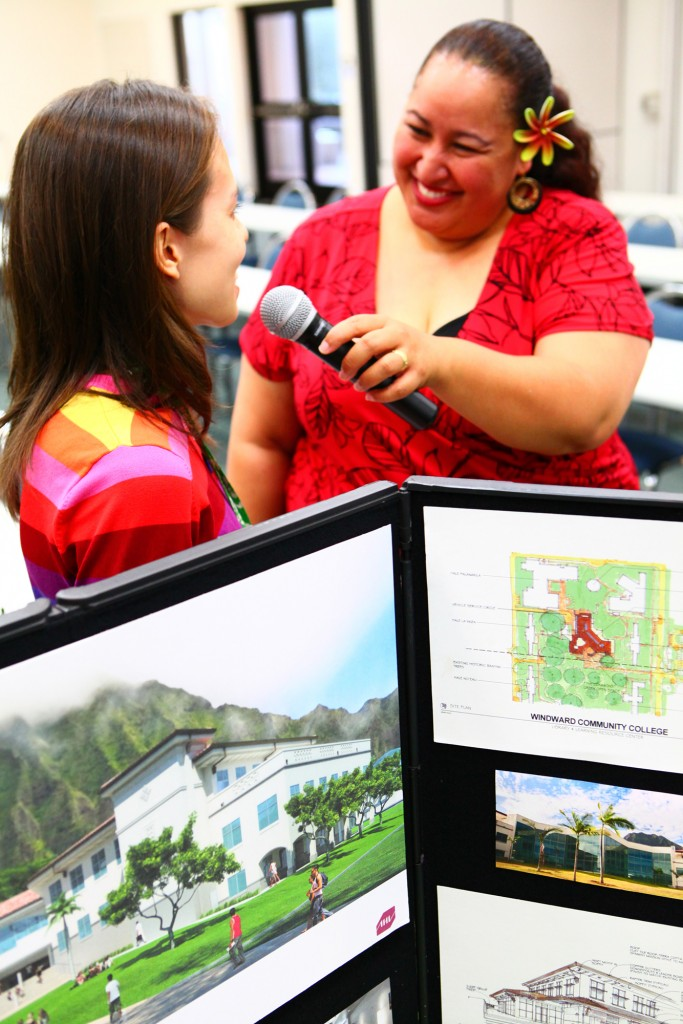 Lina Girl Langley talks with WCC librarian Mariko Kershaw about the new library and the many learning resources at Windward CC during last year's Adult Open House.