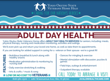 Yukio Okutsu State Veterans Home Launches Low to No-Cost Adult Day Health Services