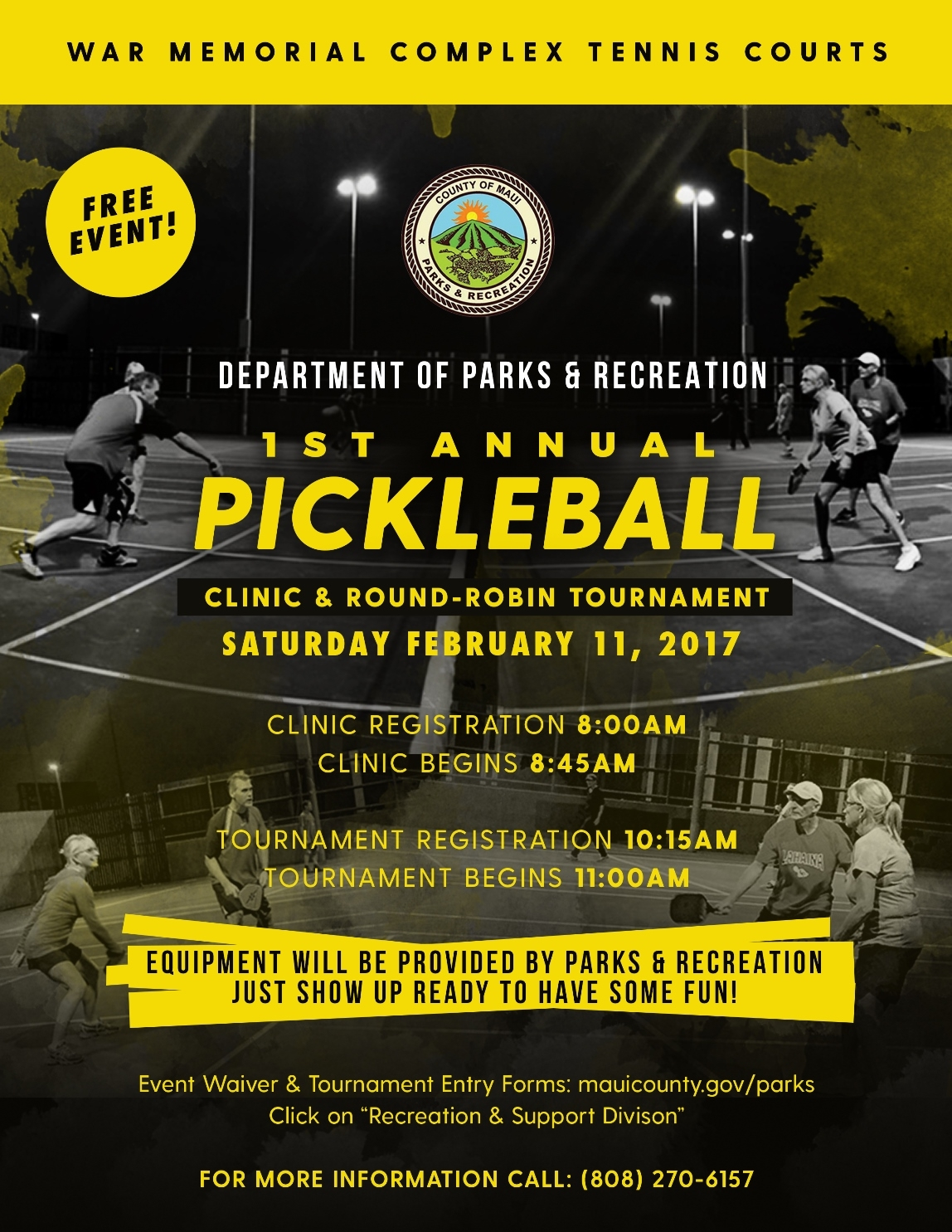 hawaii ahe county to host first annual pickleball clinic