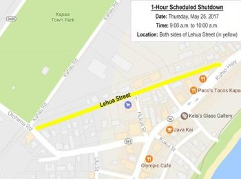 Water Shutdown Scheduled for Lehua Street on Thursday, May 25