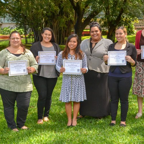 Hawai'i Community College accounting students earned their Volunteer Income Tax Assistance (VITA) certifications this semester. From left to right are Maria Jessica Malicdem, Jorge Cisneros, Kapua Silva, Kylee Kaakimaka Paris, Shereen Tagarino, Siniva Pota (Instructor), Alexis Terlep, Philomena Scherling and Dylan Sofia Lee.