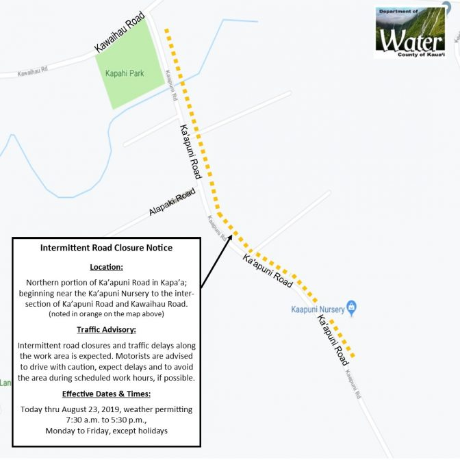 05-21-19 Road Closure Area Map on Kaapuni Road