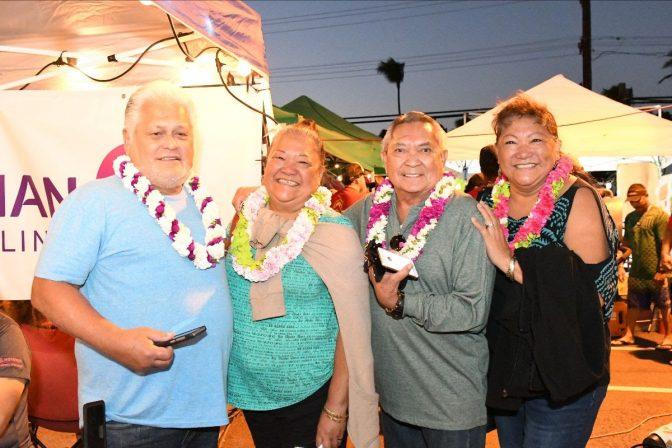 The winners of Hawaiian Airlines' OGG-LAS flight giveaway. L to R: Godfrey Akina, Nadine Bagda, Maurice Bediamol, Geraldine Oliveros. Image Credit: Linn Nishikawa & Associates, Inc.