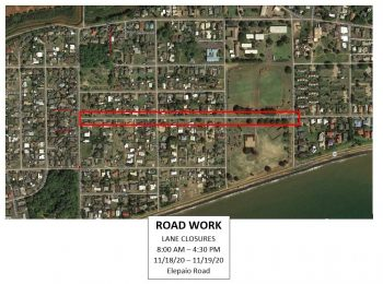 Lane closures scheduled for portions of Kekaha on Nov. 18 and Nov. 19
